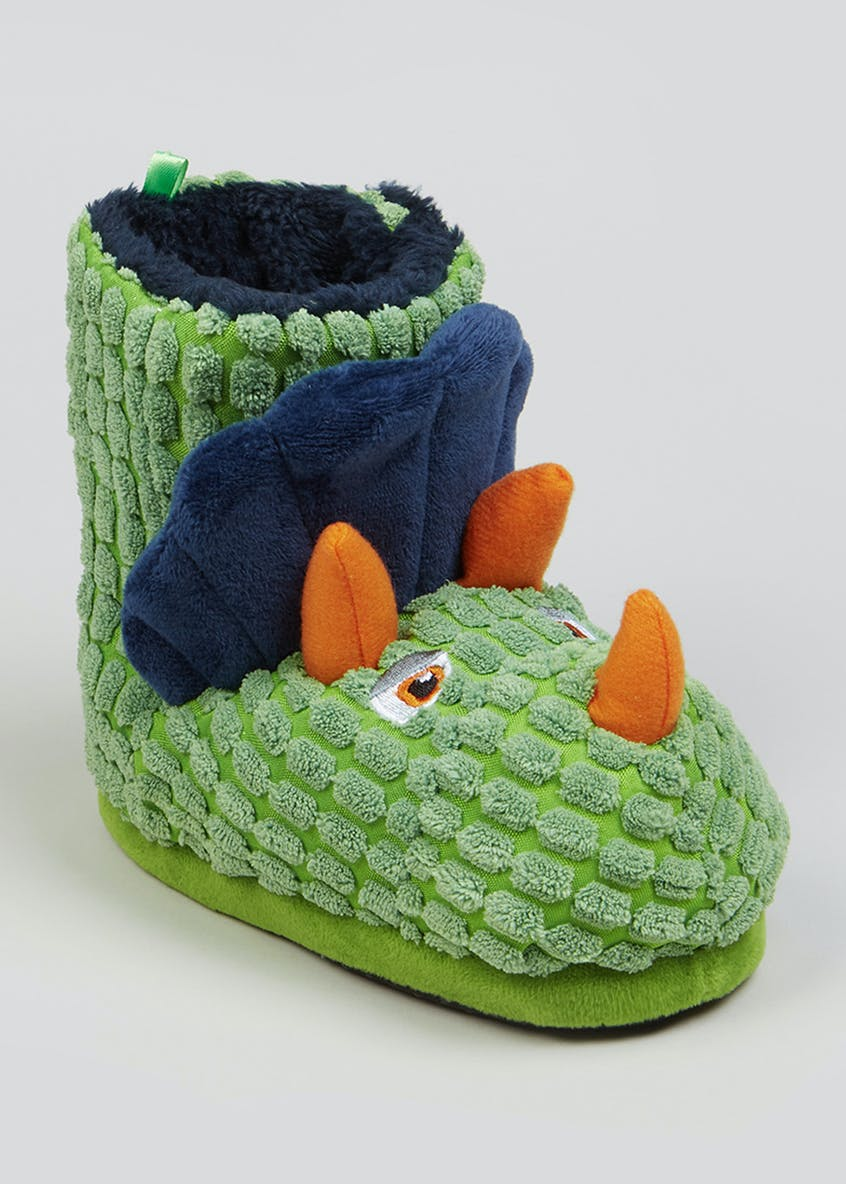 Kids Green Dinosaur Slipper Boots (Younger 4-12)