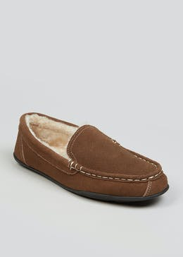 Brown Real Suede Moccasin Slippers