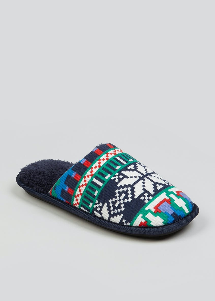 Navy Fair Isle Mule Slippers