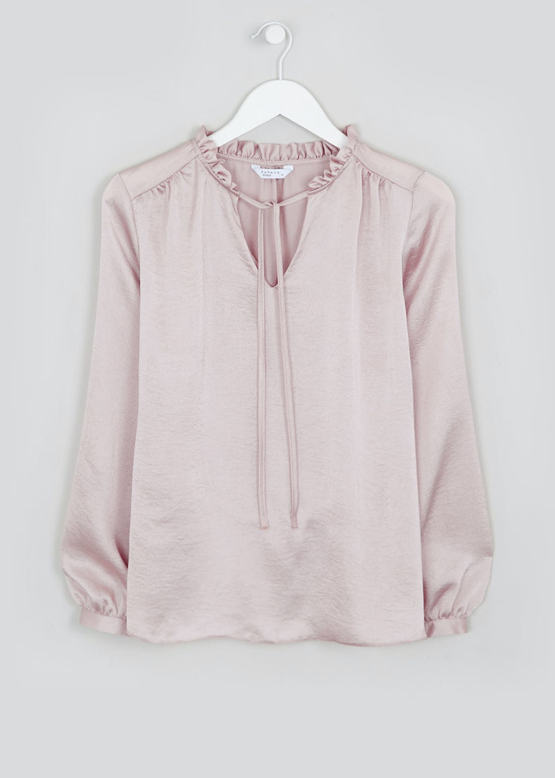 Pink Long Sleeve Ruffle Tie Neck Blouse