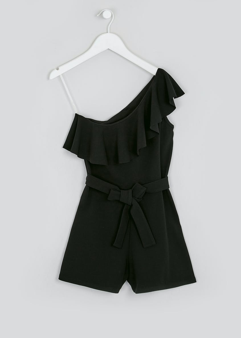 Girls Candy Couture Black Frill Sleeve Playsuit (9-16yrs)