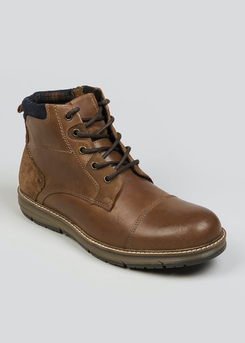 Real Leather Lace Up Boots