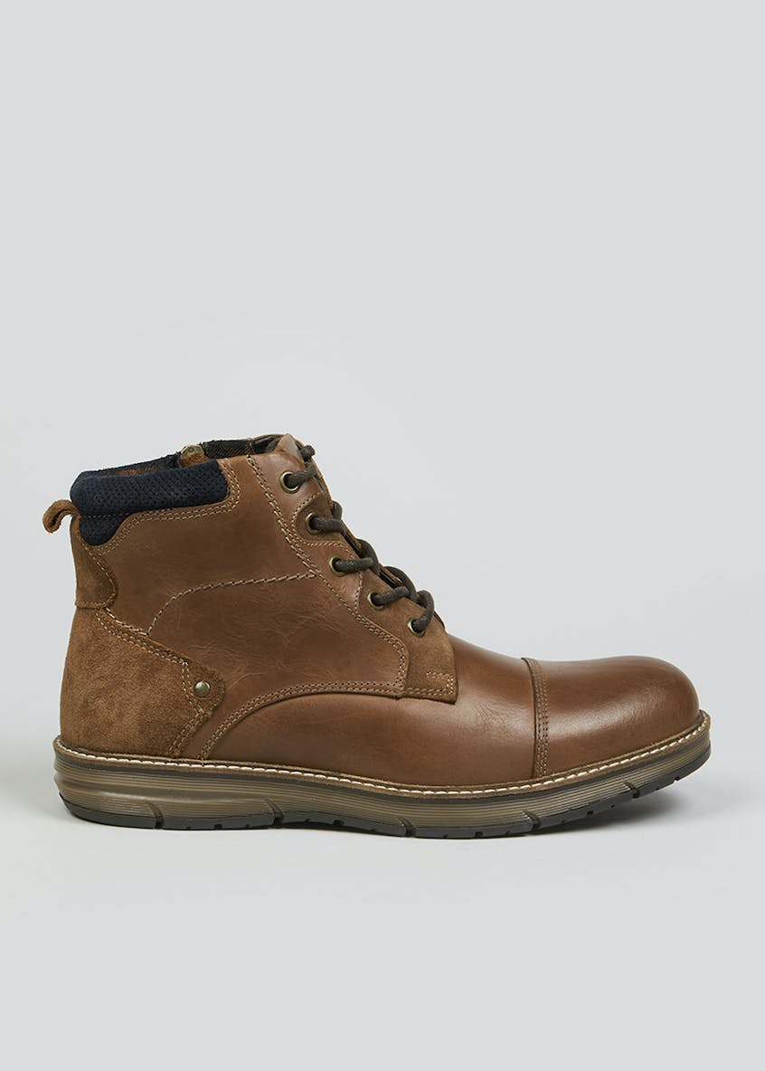 Tan Real Leather Lace Up Boots