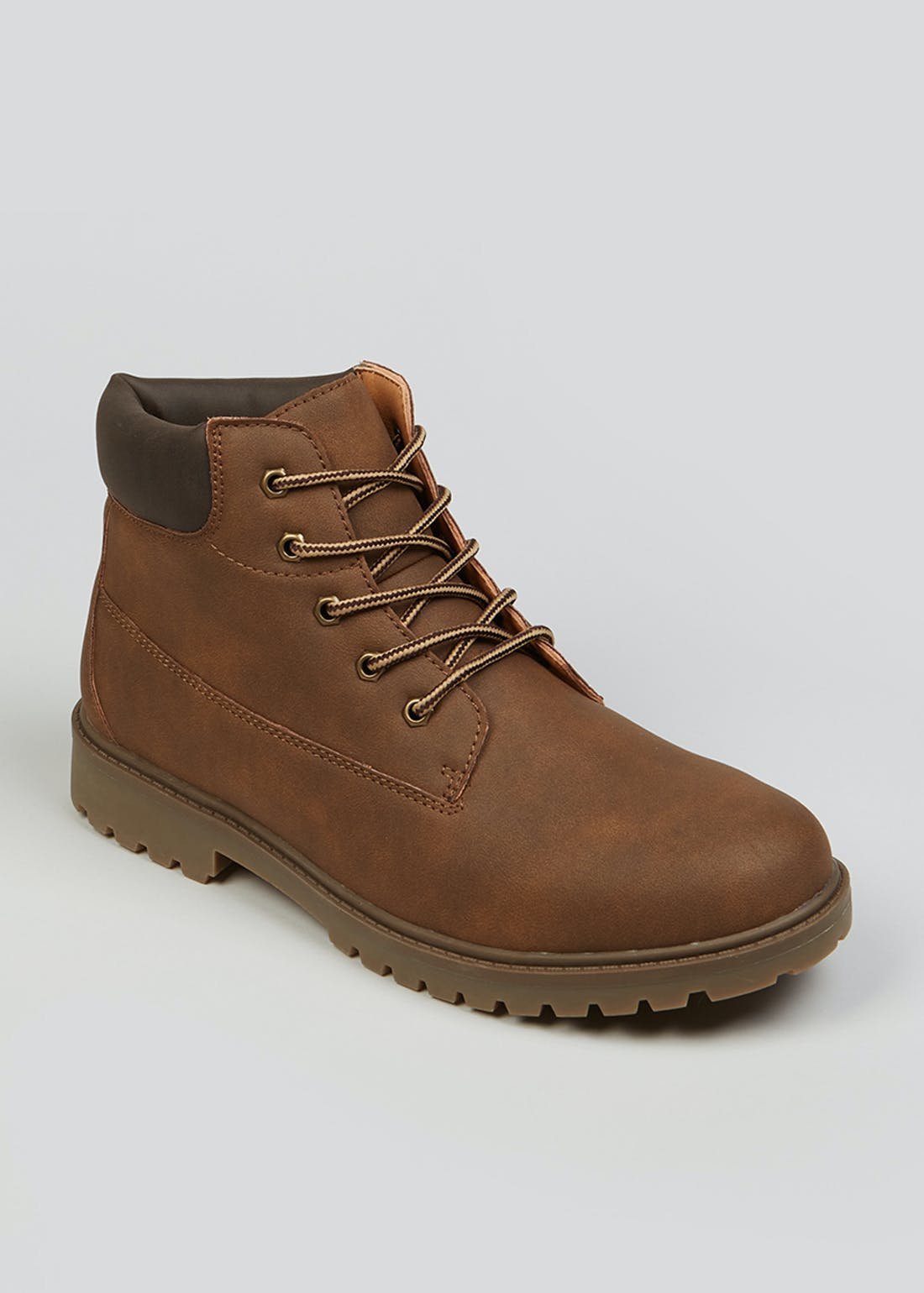 Brown Lace Up Cleated Worker Boots