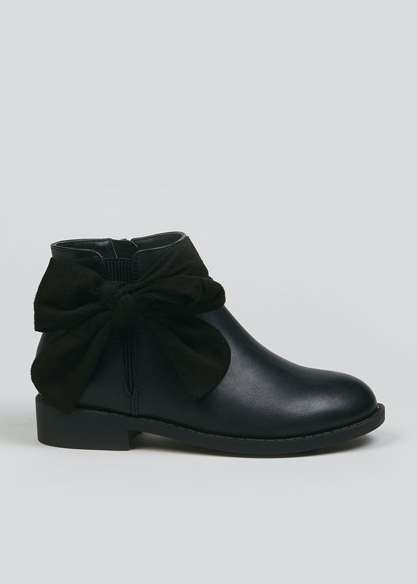 Girls Black Bow Chelsea Boots (Younger 10-Older 5)