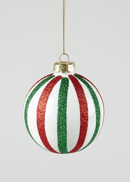 Glitter Stripe Christmas Bauble (8cm)
