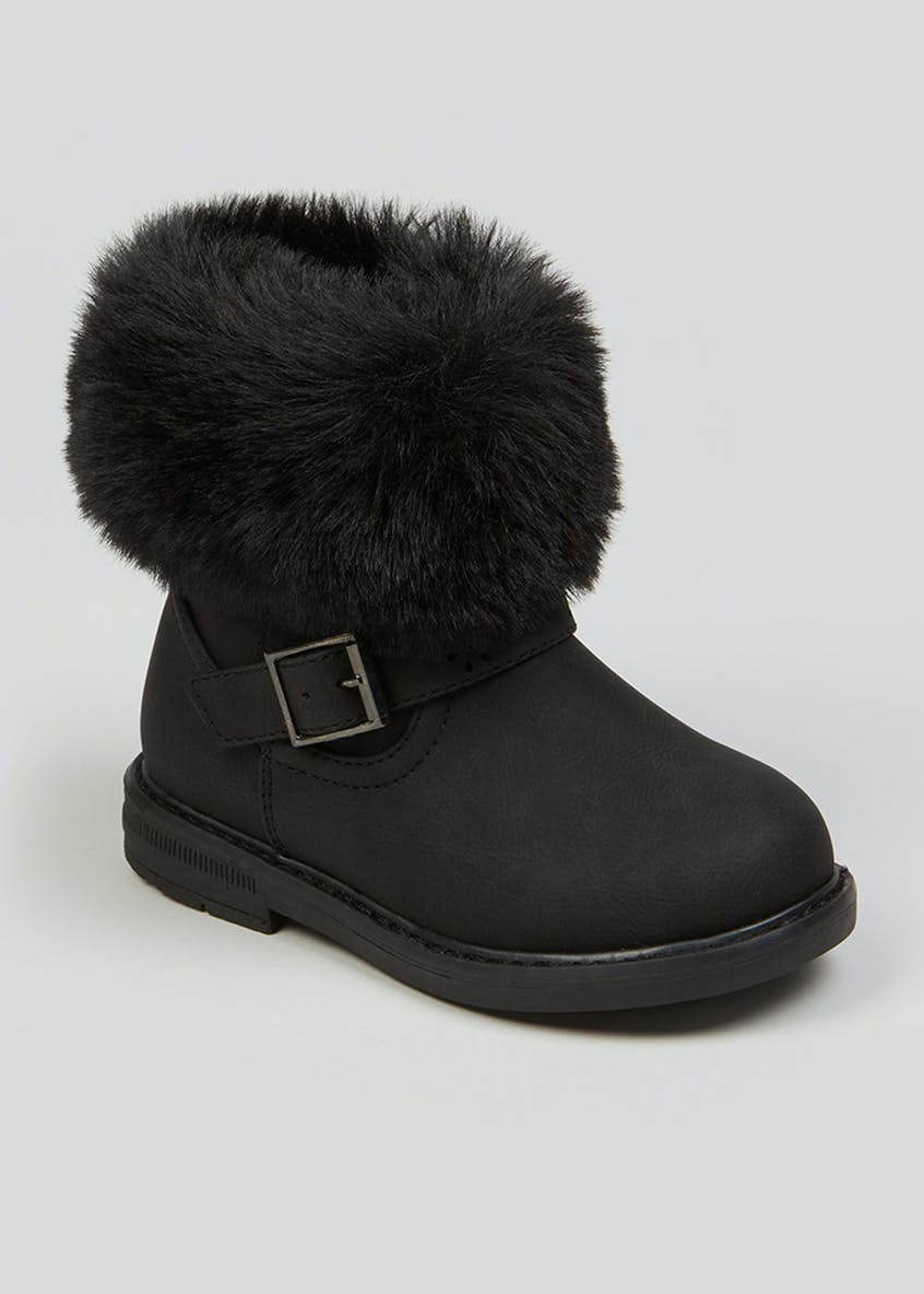 Girls Black Faux Fur Trim Ankle Boots (Younger 4-12)
