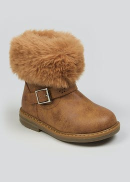 Girls Brown Fur Trim Ankle Boots (Younger 4-12)
