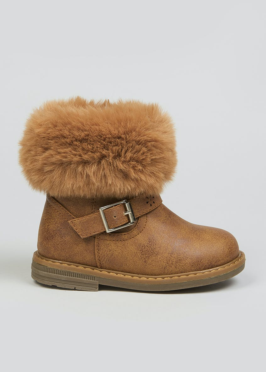 Girls Fur Trim Ankle Boots (Younger 4-12)