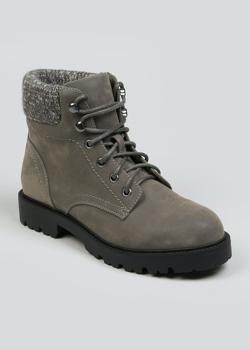 Grey Knit Trim Lace Up Ankle Boots