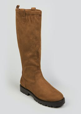 Wide Fit Tan Cleated Boots