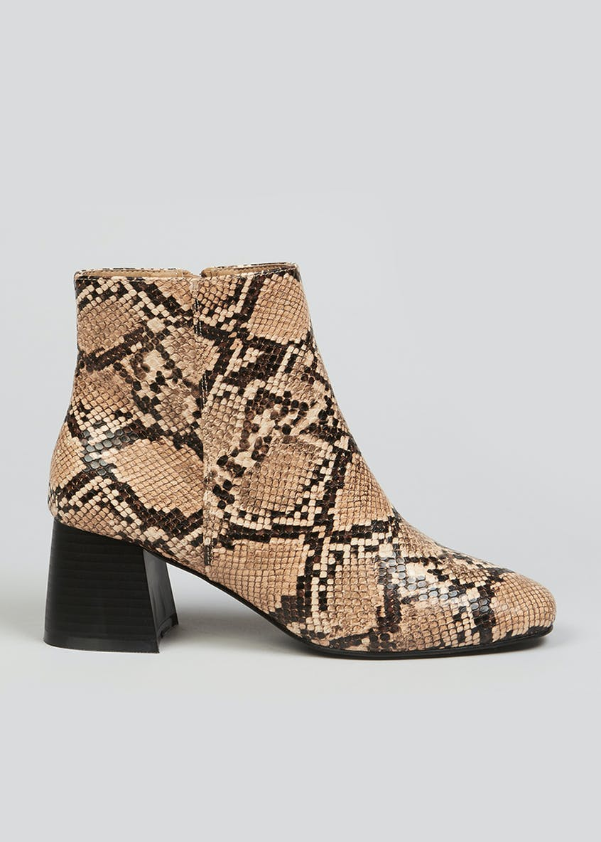 Block Heel Snake Print Ankle Boots
