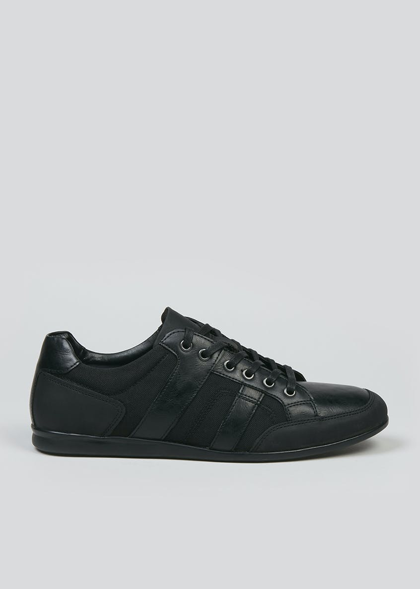 Black Panel Lace Up Trainers