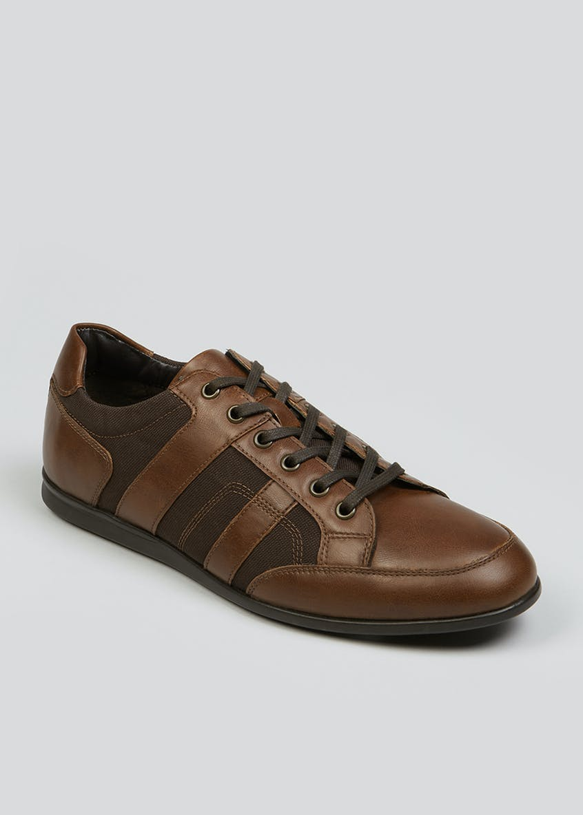 Tan Panel Lace Up Trainers