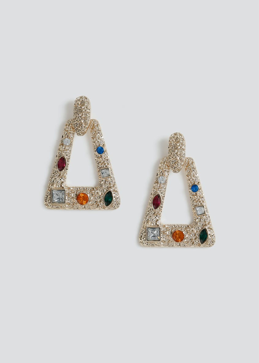 Statement Gem Door Knocker Earrings