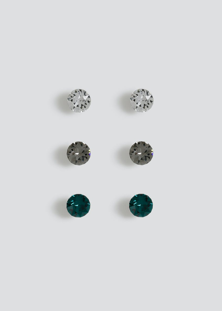 3 Pack Swarovski Elements Stud Earrings