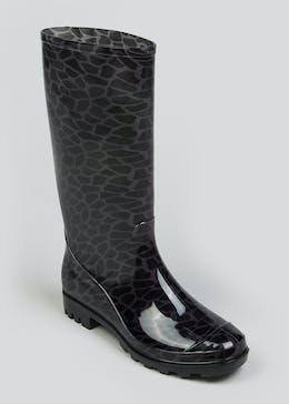 Black Giraffe Print Wellies