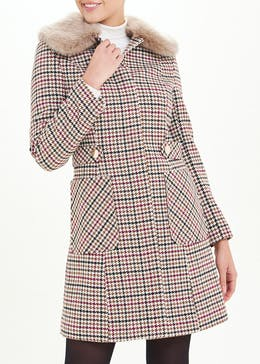 Check Faux Fur Collar Dolly Coat