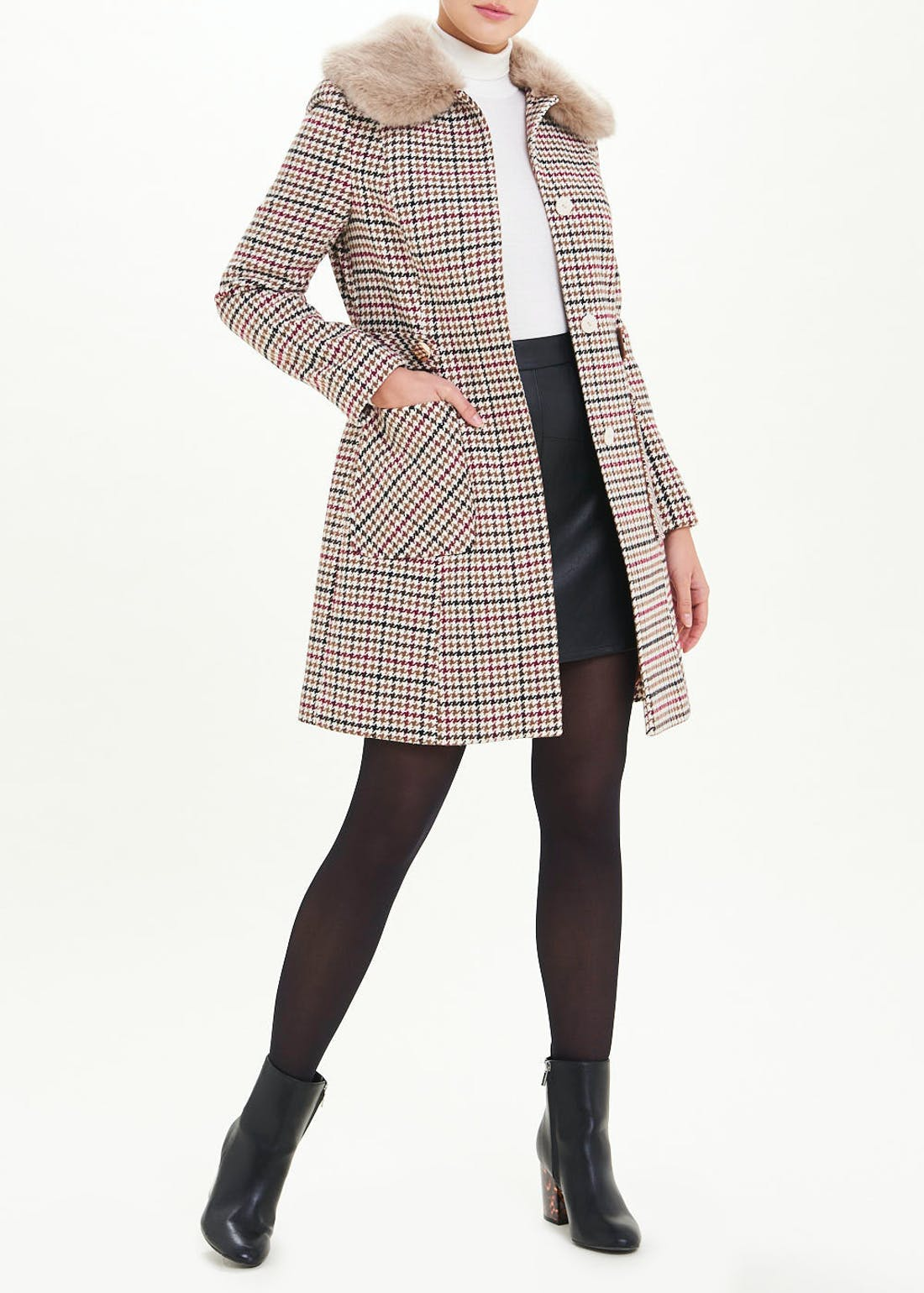 Brown Check Faux Fur Collar Dolly Coat