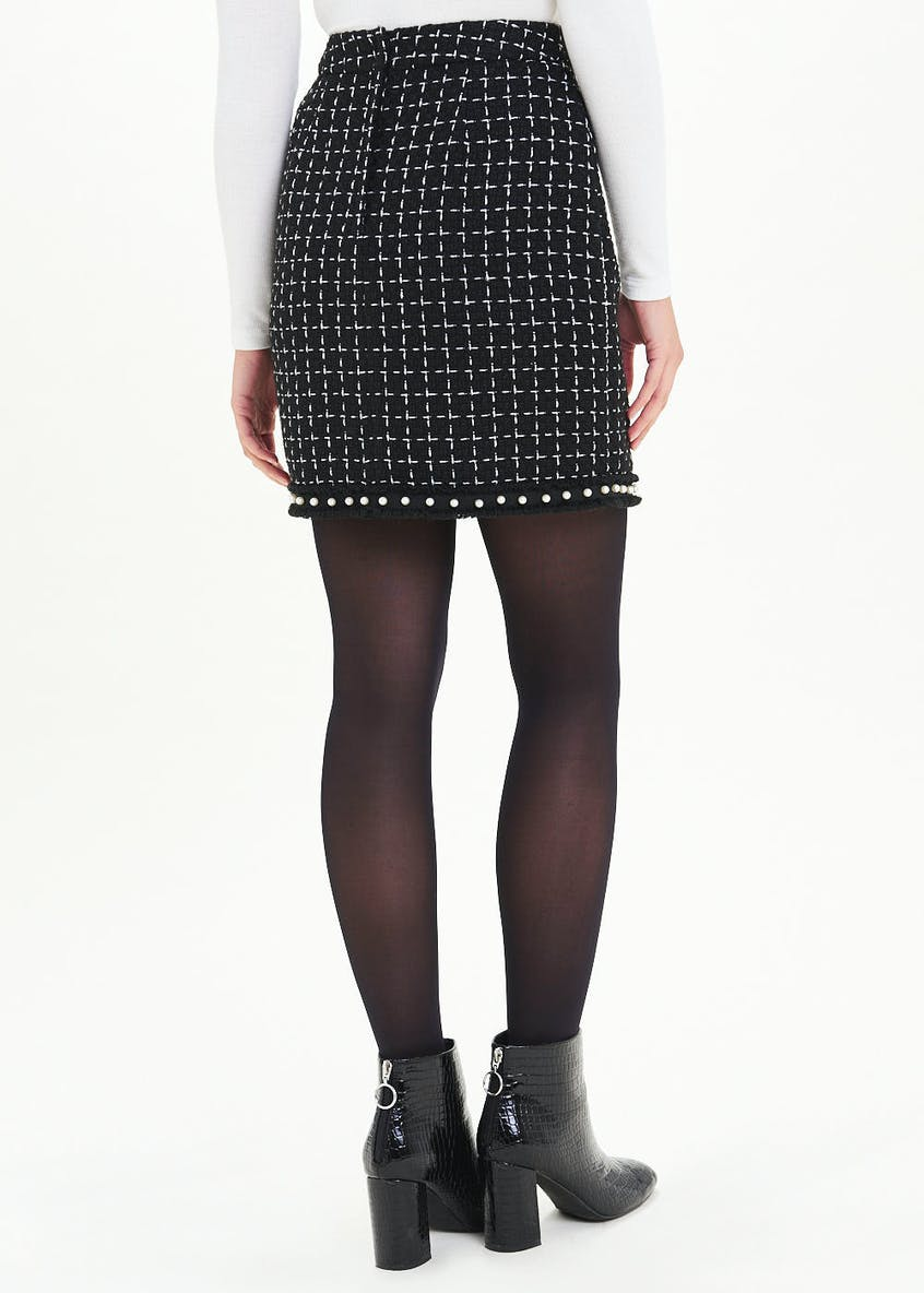 Pearl Trim A-Line Boucle Skirt