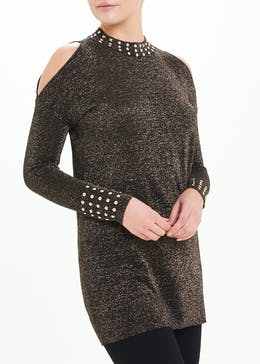 Soon Studded Cold Shoulder Tunic Top