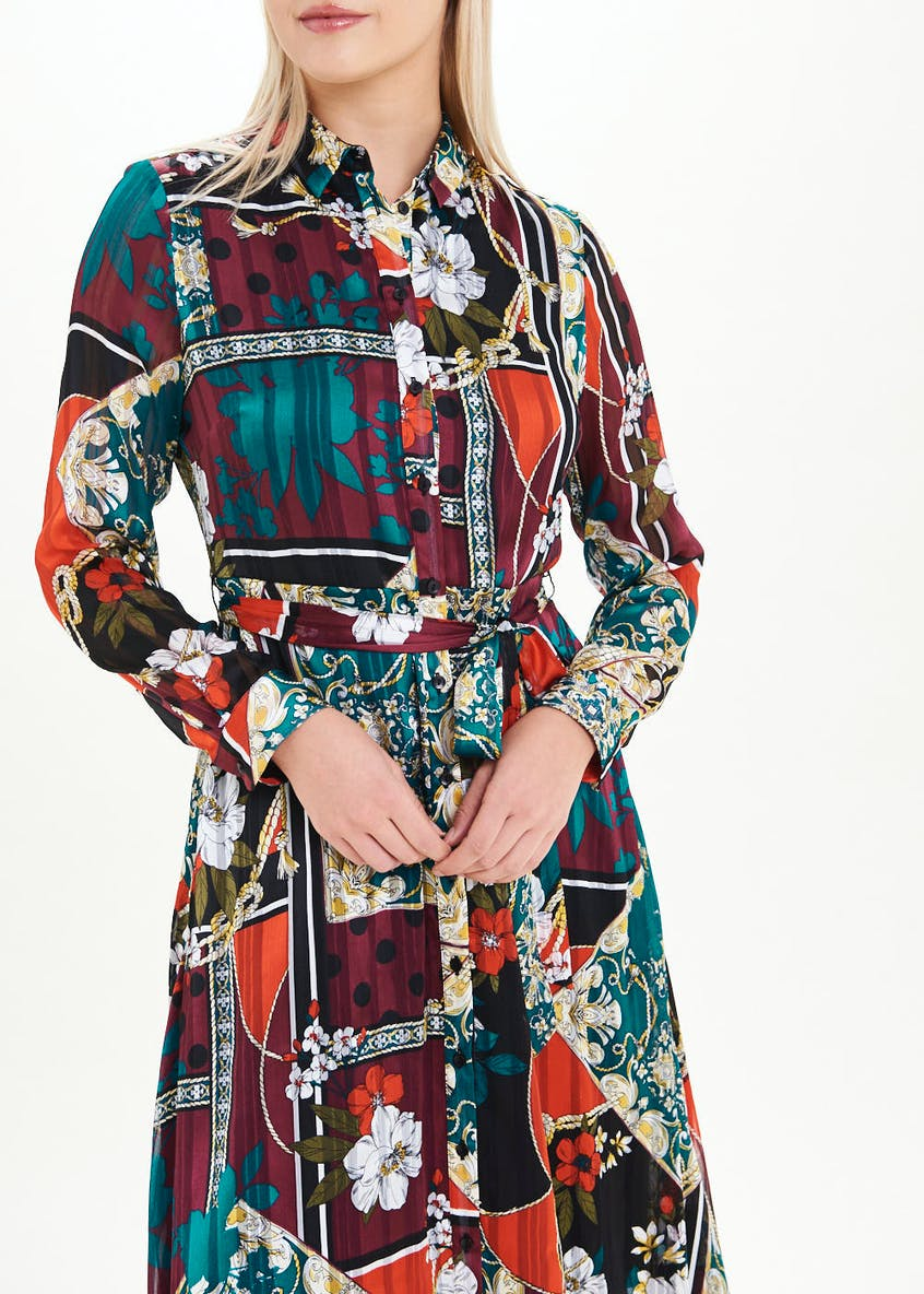 Soon Long Sleeve Scarf Print Shirt Dress