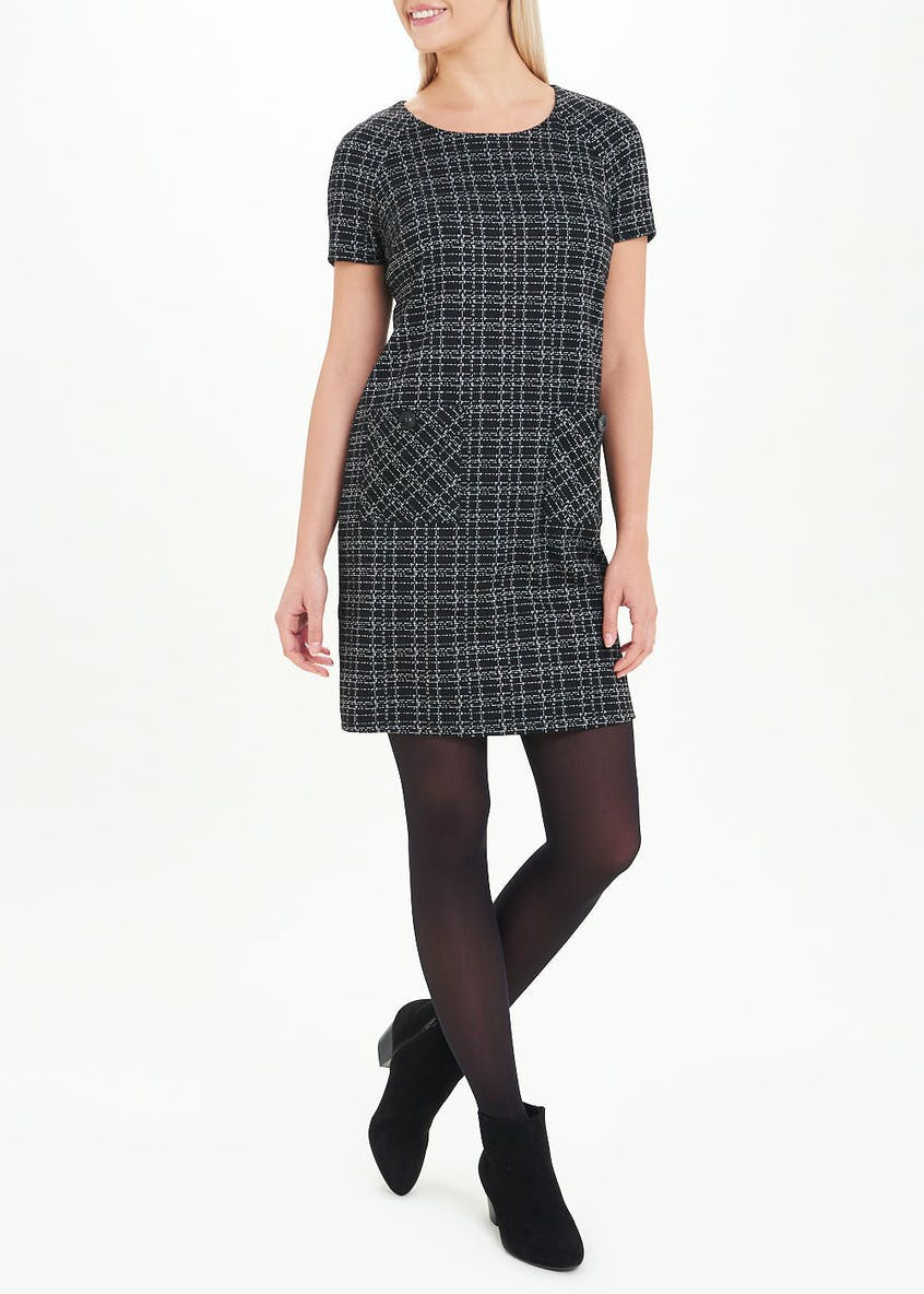 Black Short Sleeve Textured Check Dress