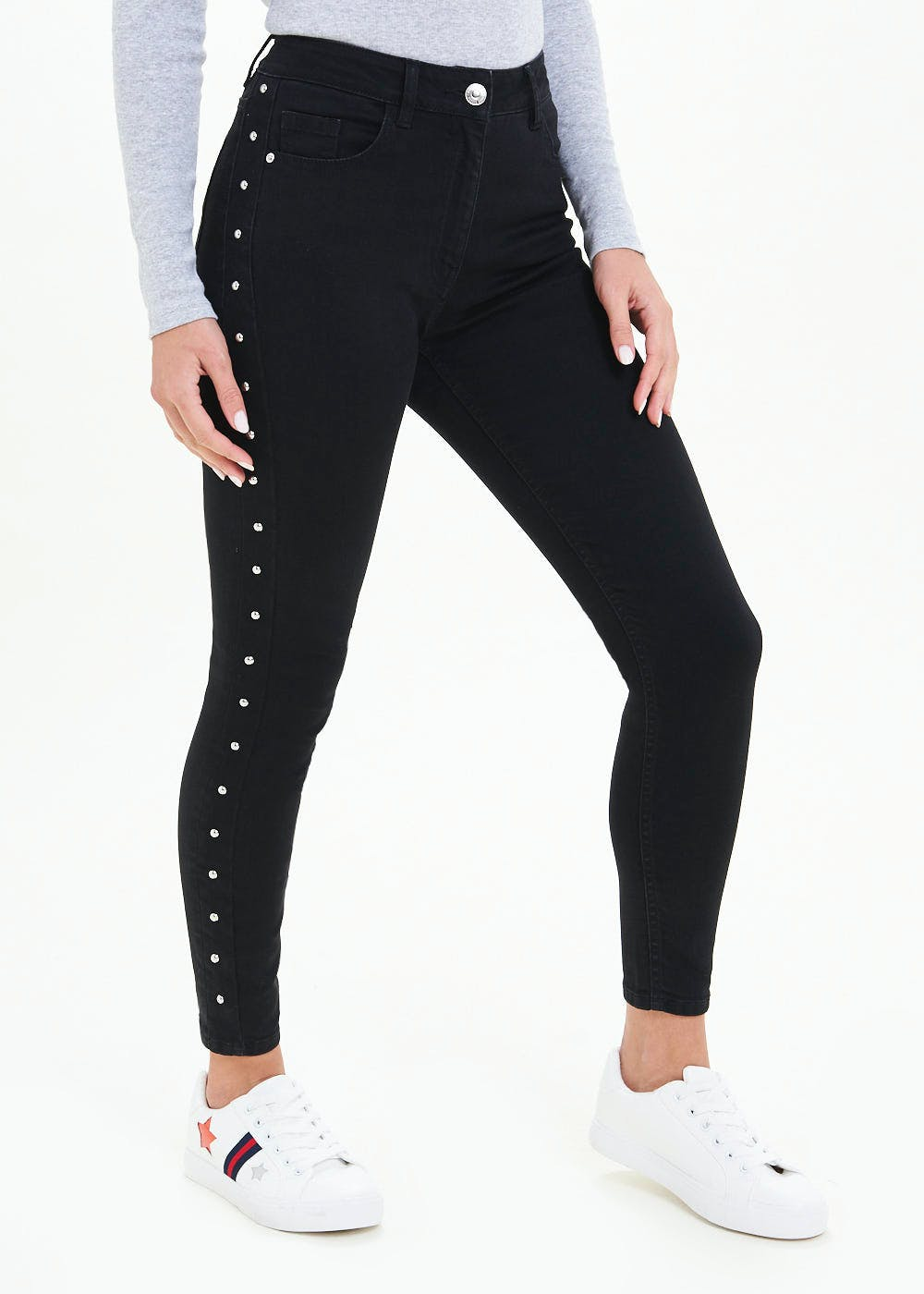 April Stud Side Skinny Ankle Grazer Jeans by Matalan