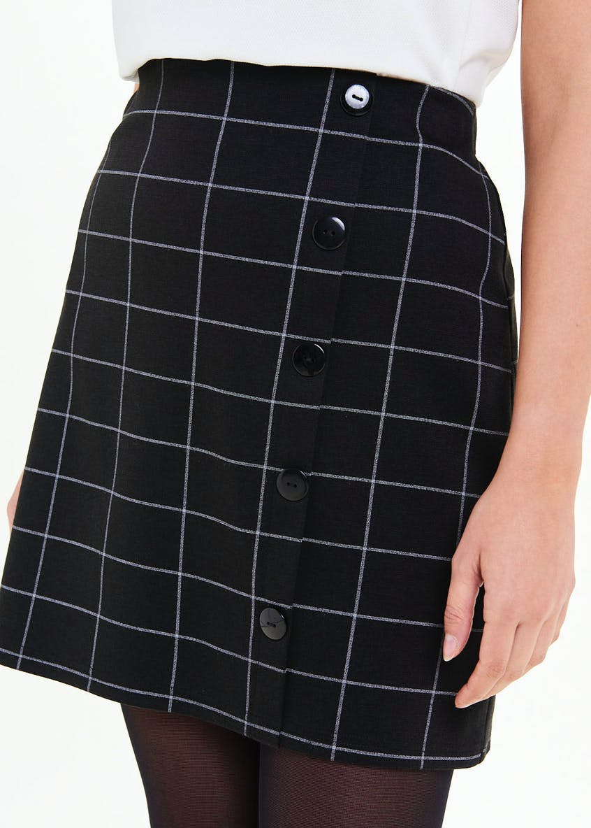Grid Check Side Button A-Line Skirt