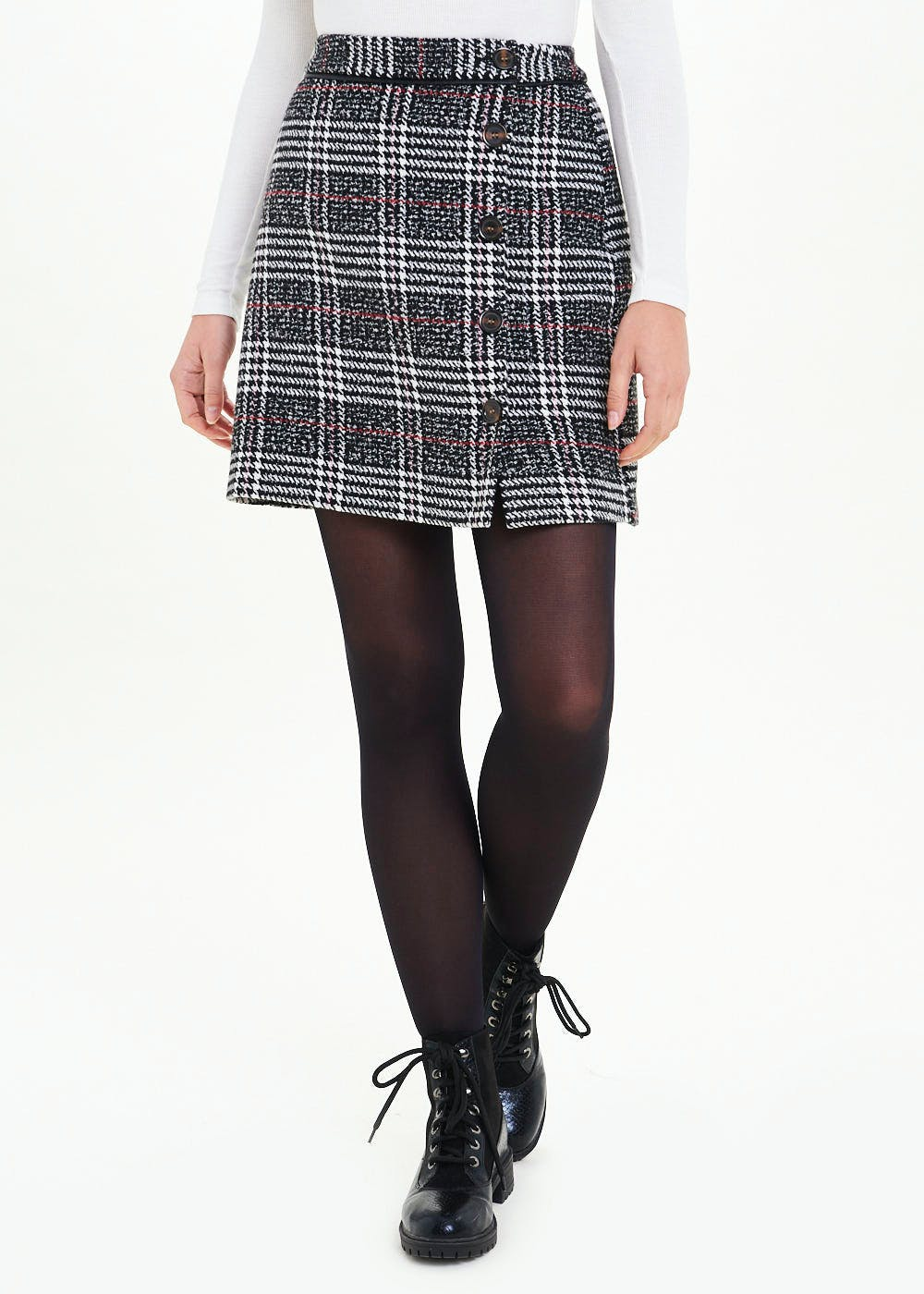 Check A Line Side Button Skirt by Matalan