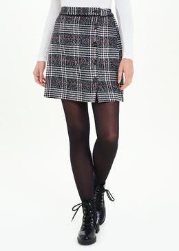 Check A-Line Side Button Skirt