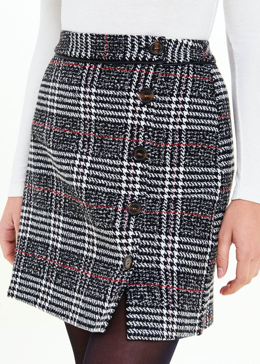Check Side Button A-Line Skirt