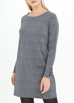 Grey Long Sleeve Check Ponte Dress