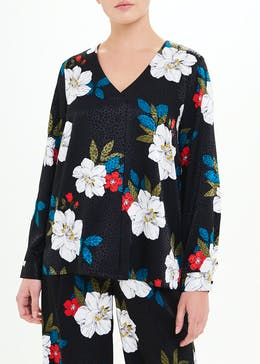Soon Black Long Sleeve Floral Jacquard Blouse