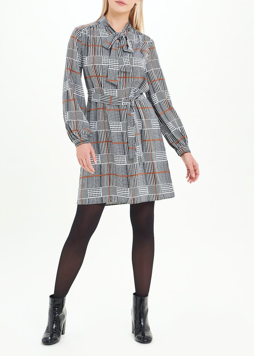 Grey Long Sleeve Check Pussybow Dress