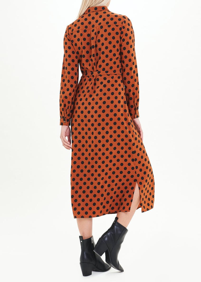Rust Long Sleeve Polka Dot Midi Shirt Dress