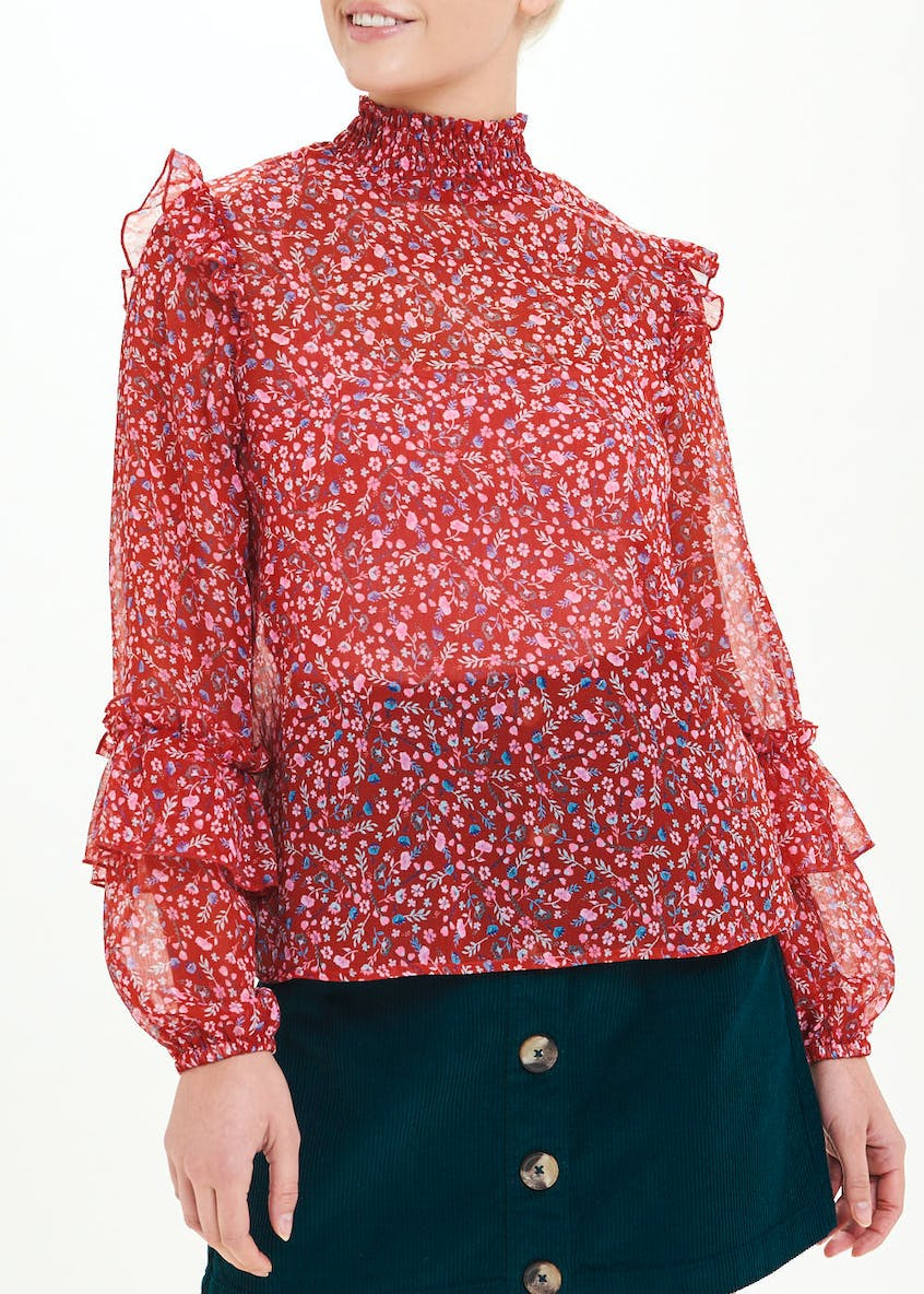 Red Long Sleeve Floral High Neck Blouse