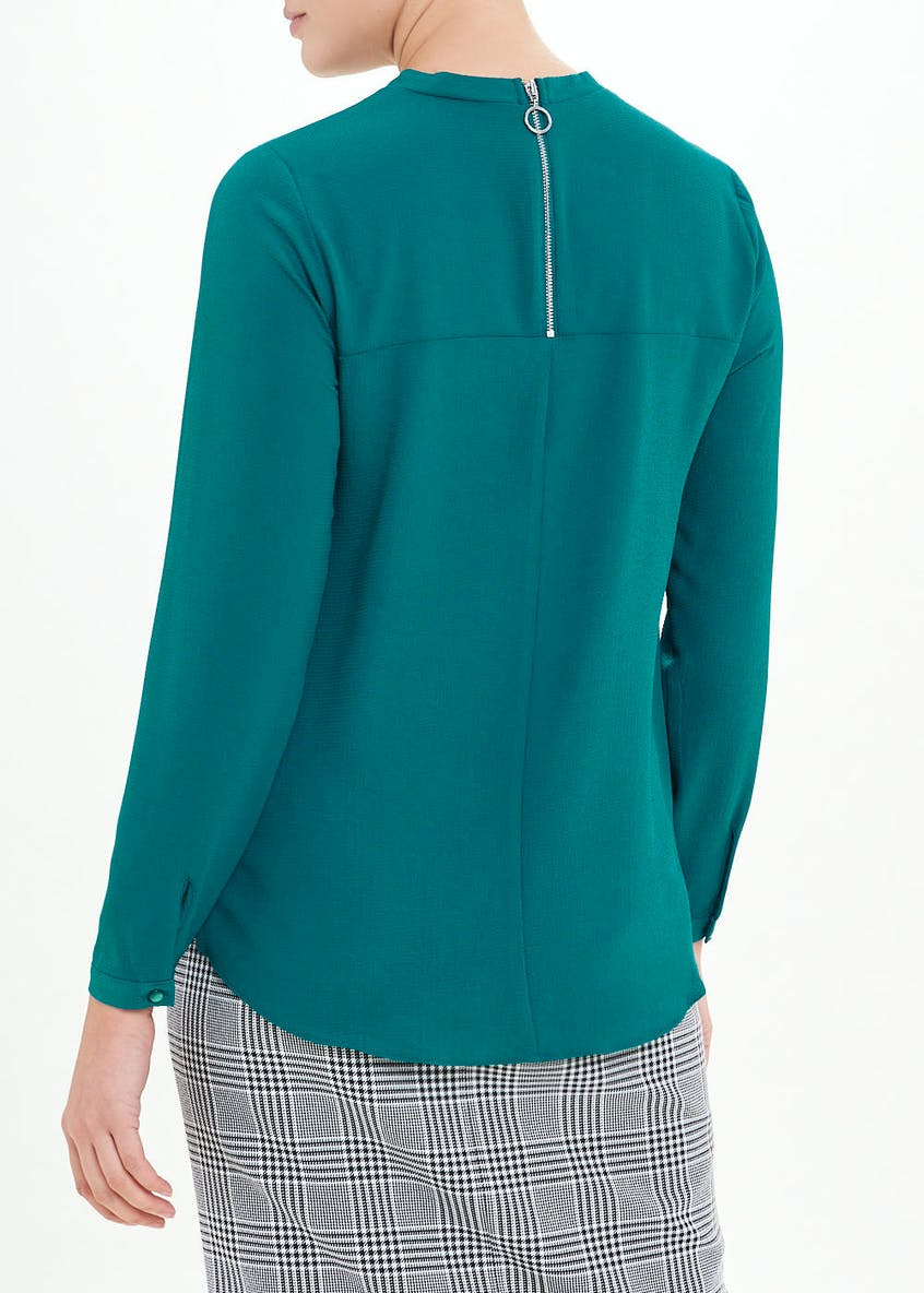 Teal Long Sleeve Zip Back Blouse
