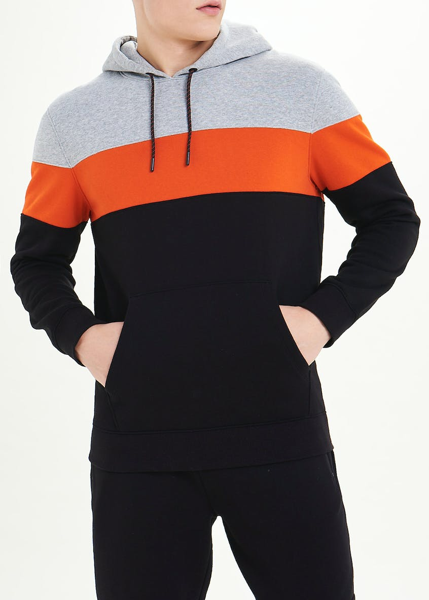 US Athletic Colour Block Pull On Hoodie