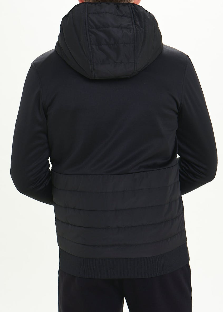 Nylon Panel Zip Through Hoodie