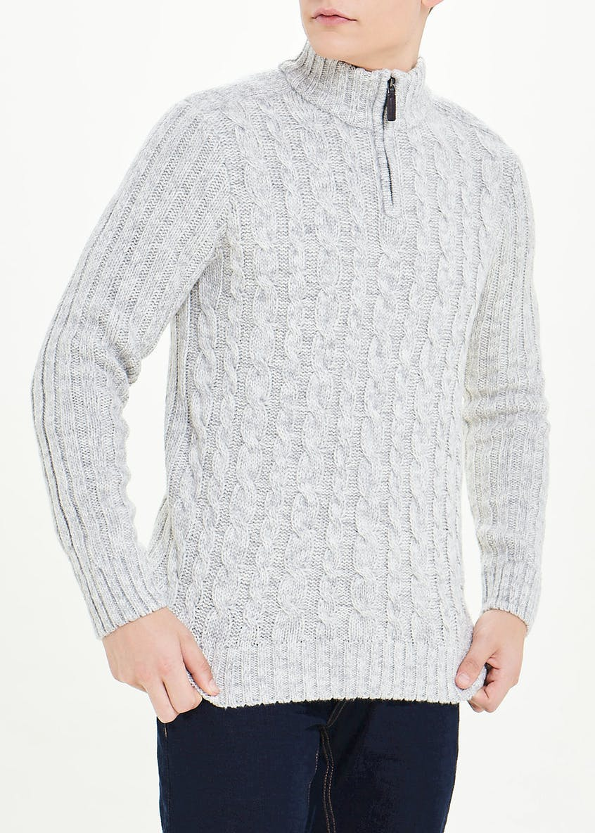 Big & Tall Cable Knit Half Zip Jumper