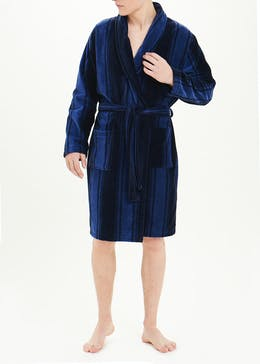 Velour Stripe Dressing Gown