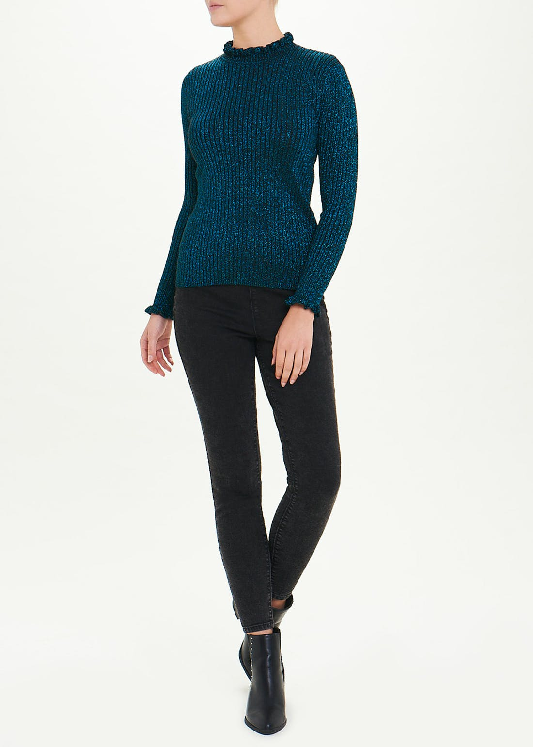 Sparkle Frill High Neck Jumper