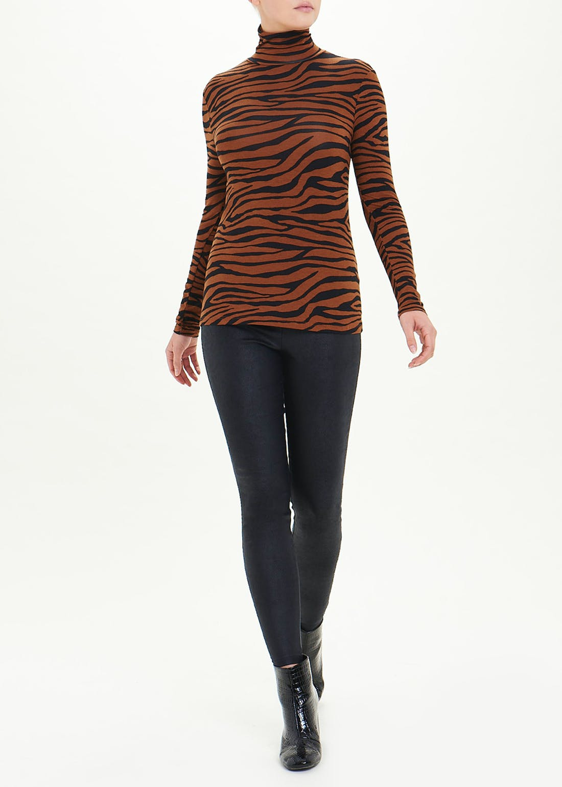 Long Sleeve Animal Print Roll Neck Top
