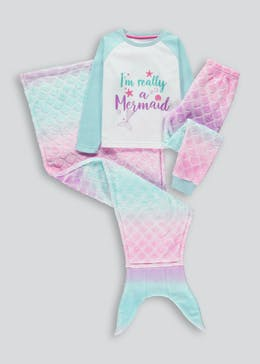 Girls 3 Piece Mermaid Pyjama Set (4-13yrs)