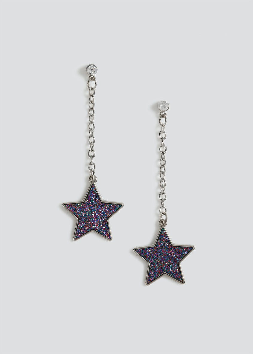 Glitter Star Drop Earrings