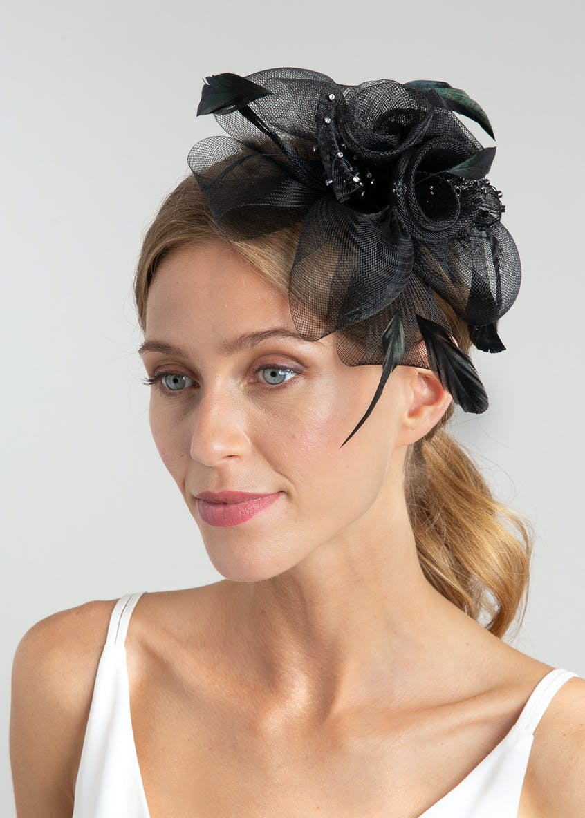 Feather Rhinestone Fascinator Headband