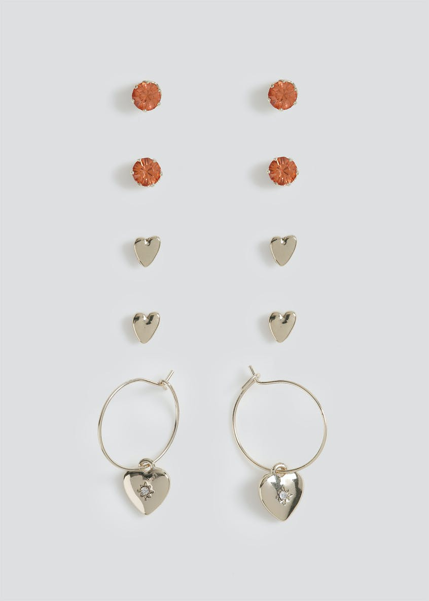 3PK Heart Hoop Earrings.