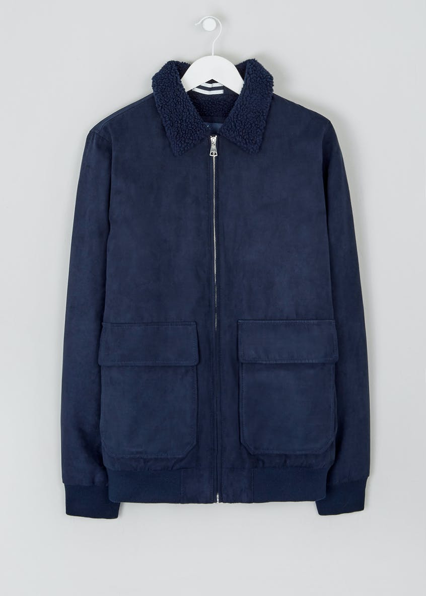 Navy Faux Suede Borg Collar Jacket
