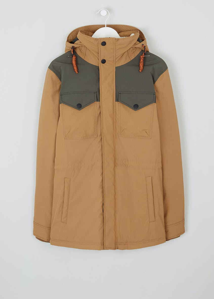 Hooded Colour Block Parka